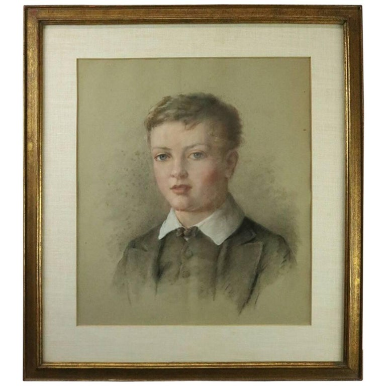 Antique English Pastel Portrait of Boy Attributed George Richmond For Sale