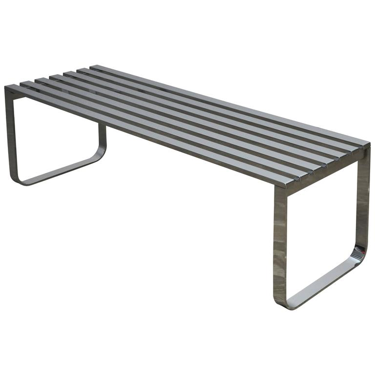 Chrome Slat Bench by Milo Baughman 1