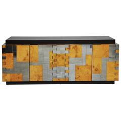 "Paul Evans ""Cityscape Series"" Burl Wood and Chrome Sideboard"