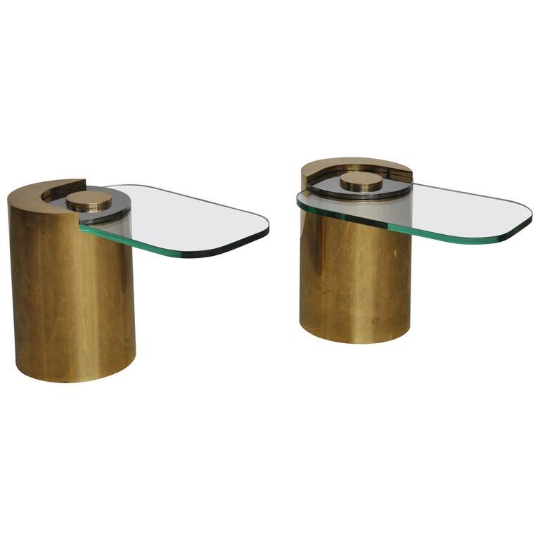 Karl Springer Brass Sculpture Leg Table Pair 1