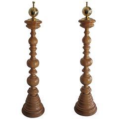 Monumental Turned Wood Floor Lamps