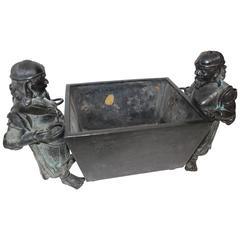 Bronze Japanese Themed Planter Depicting Two Warriors Battling over Possession