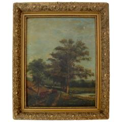 Pastoral Painting of Meadow with Trees in Later Frame