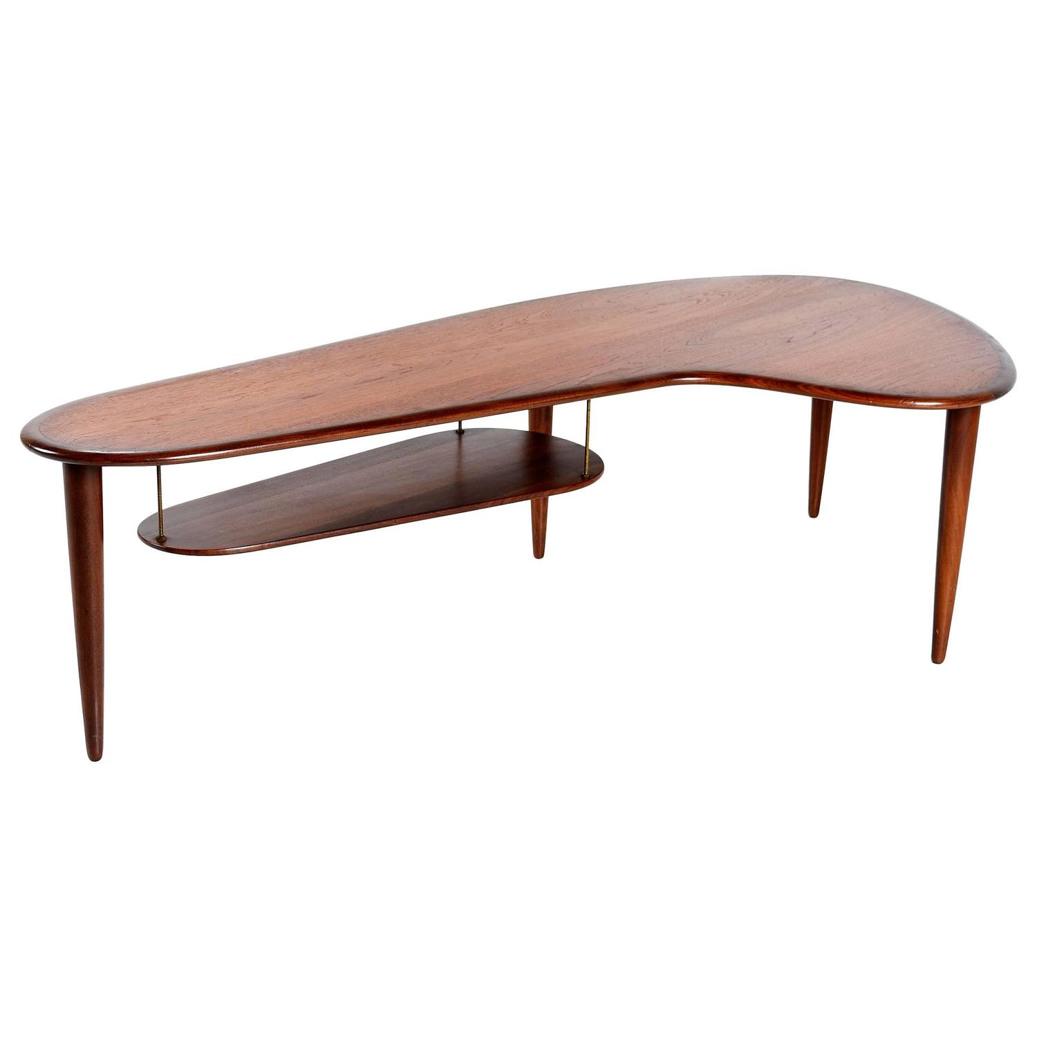 Mid Century Modern Danish Teak Boomerang Coffee Table 1950s at
