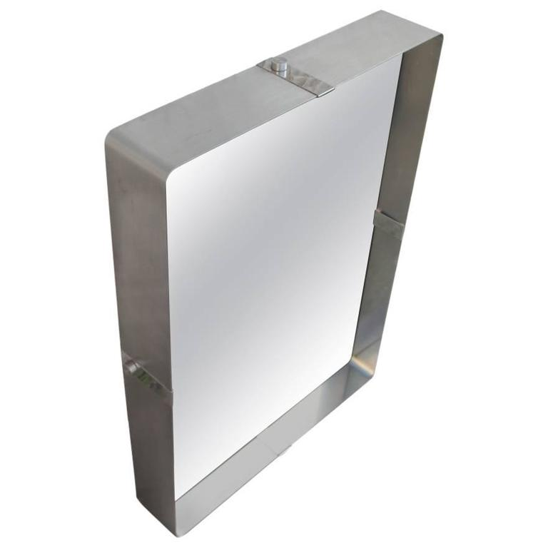 Modern Steel Wall Mirror 1970s Attributed Francois Monnet, France