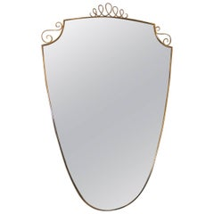 Italian Mid-Century Wall Mirror Brass Design, 1950s