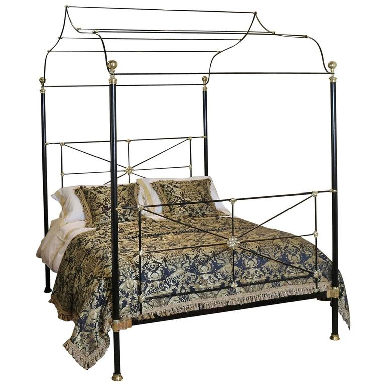 Campaign four poster bed for sale at 1stdibs for Four poster beds sale