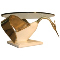 Swan Table Coffee White Gold Brass lacquered Wood Round Glass Top Italian 1970