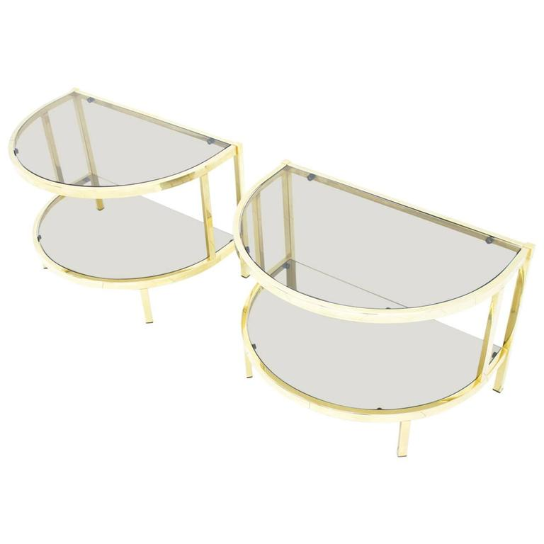 Pair of Brass and Glass Bed Side Tables, 1970s
