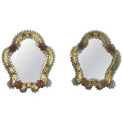 Pair of Petite Murano Glass Wall Mirrors Pink and Clear Glass