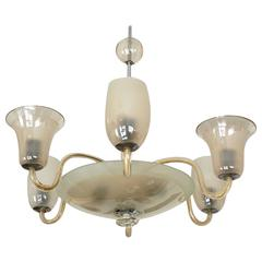 Large Vintage Bohemian Hand Blow Glass Chandelier