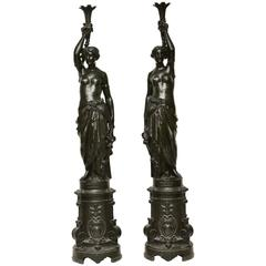 Pair of Large 19th Century Cast Iron Floor lamps Made by Bolinder, Stockholm