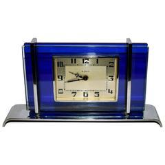 1930s Art Deco Blue Glass and Chrome Clock