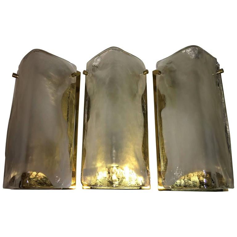 Set of Three Brass and Glass Sconces by J. T. Kalmar