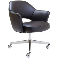 Saarinen Executive Arm Chair in Black Leather, Swivel Base