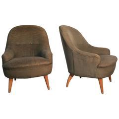 Italian Mid-Century Modern Armchairs Particular Form Wood Velvet