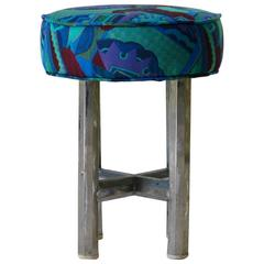 Chrome and Fabric Bauhaus Stool, circa 1930s