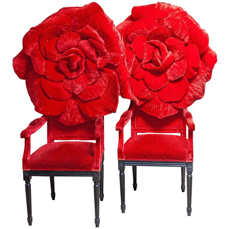 20th Century Rosa Flower Chairs by Italian Artist Carla Tolomeo For Sale