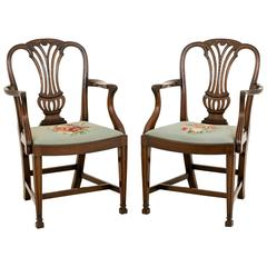 Pair of Mahogany Hepplewhite Influenced Carver Chairs