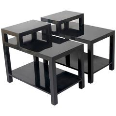 Pair of Black Lacquered Stepped End Tables by Gibbings for Widdicomb