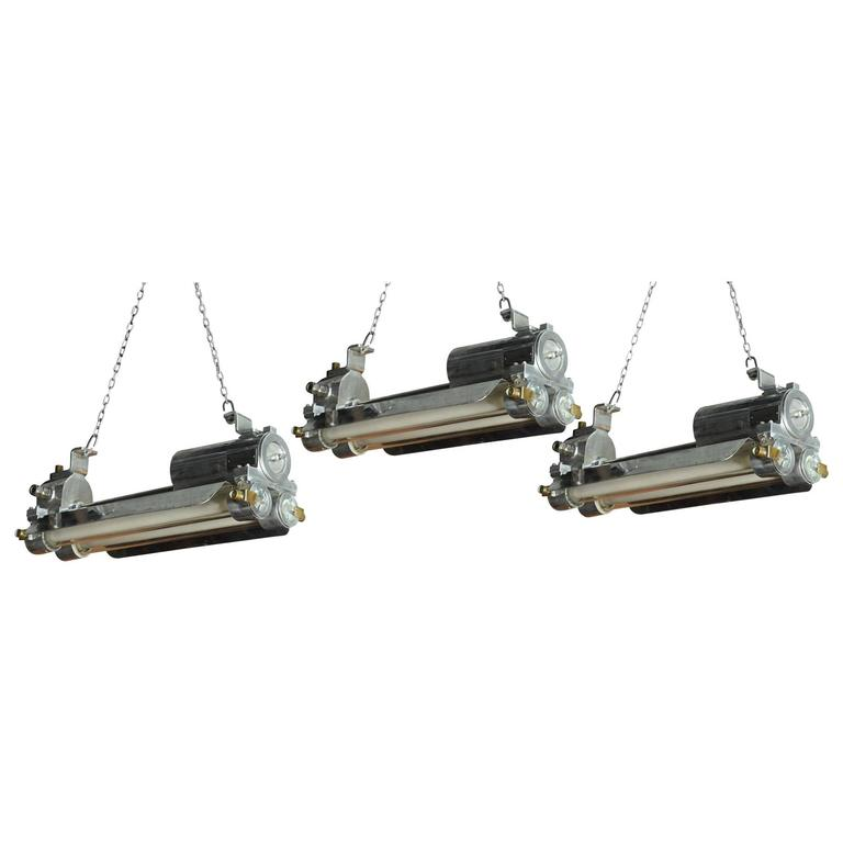 Set of Three Industrial Explosion-Proof Maritime Fluorescent Lights