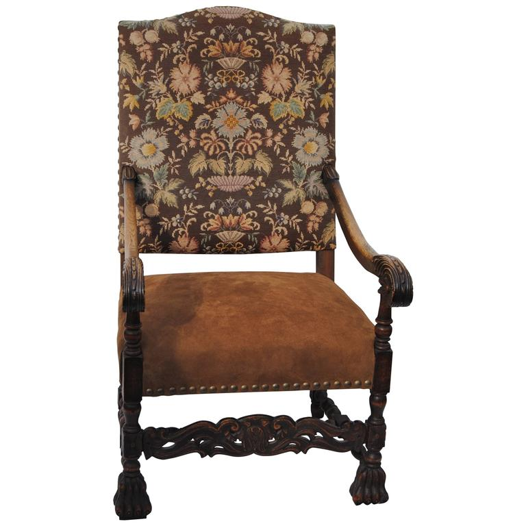 Antique High Back European Armchair with Nailheads, 19th Century