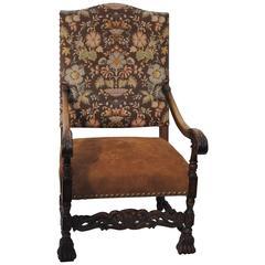 Antique High Back European Armchair with Nailheads, 19th Century