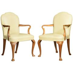Pair of Walnut Queen Ann Leather Armchairs