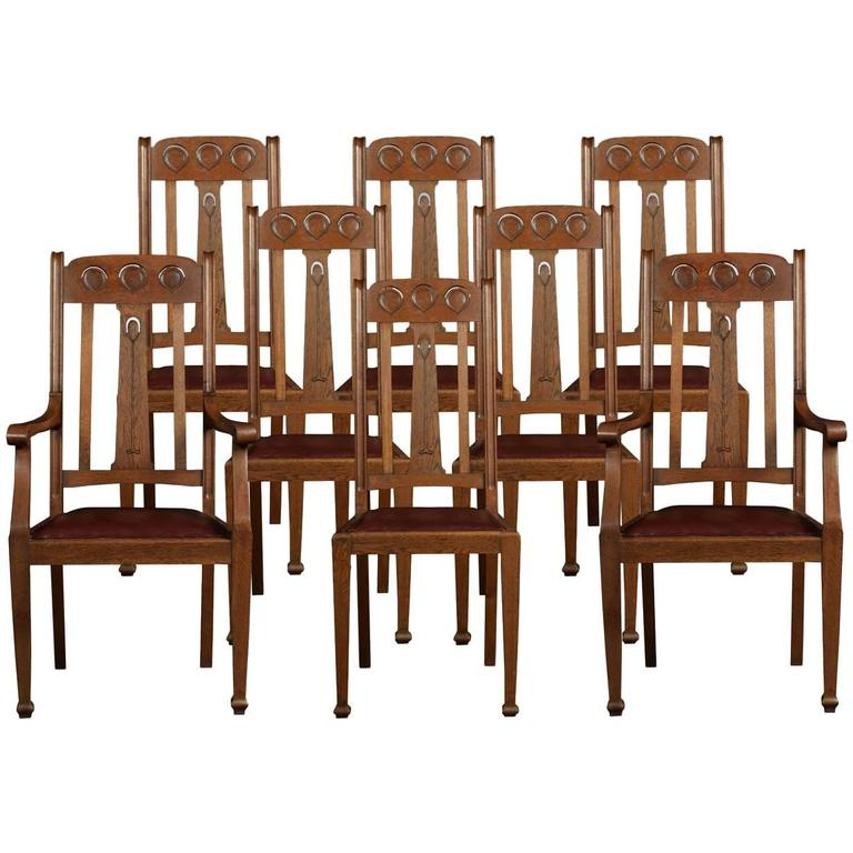 Set of eight oak arts and crafts dining chairs at 1stdibs - Arts and crafts dining room furniture ...