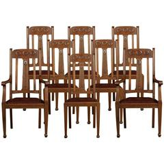 Set of Eight Oak Arts and Crafts Dining Chairs