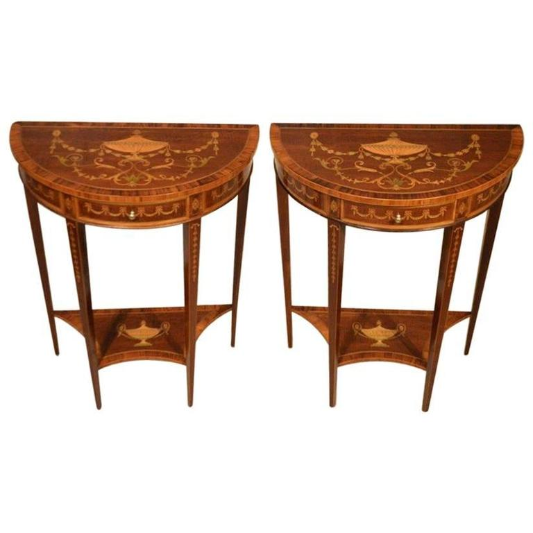 Attractive Superb And Rare Pair Of Mahogany Inlaid Edwardian Period Antique Demilune  Table For Sale