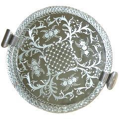 Murano Venetian Twisted Glass Rope Round Mirrored Vanity Tray