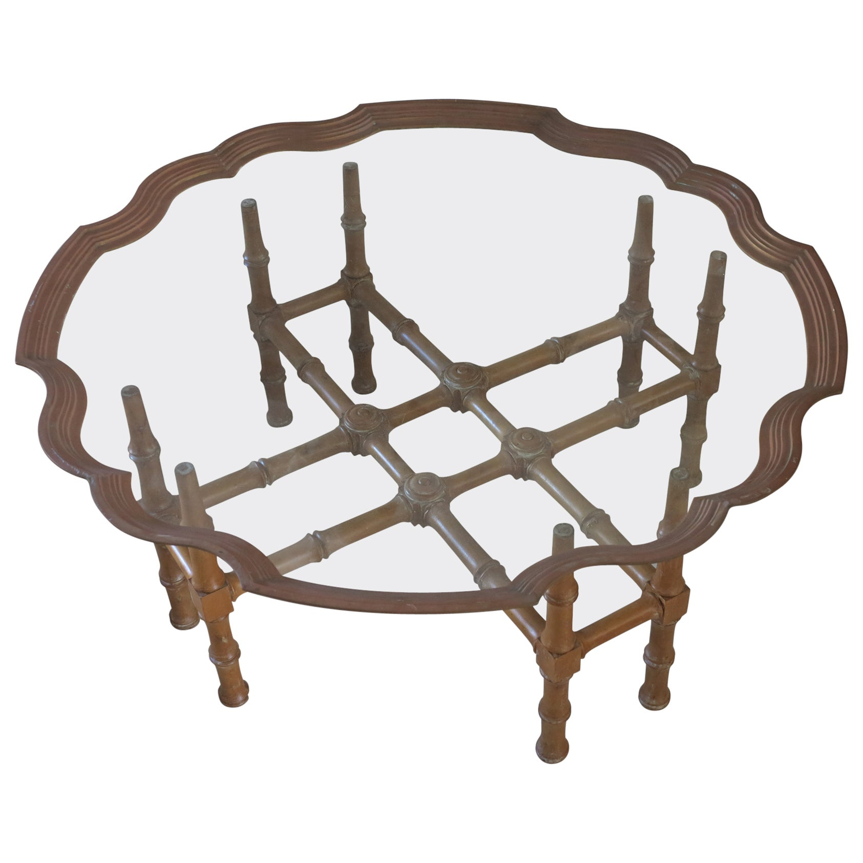 Vintage Faux Bamboo Coffee Table with Ornate Brass and Glass Top