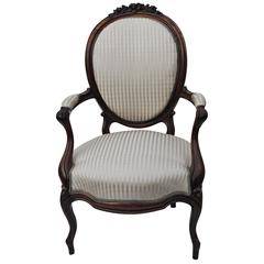 Antique European Rosewood Chair, Newly Upholstered in Scalamandre Silk Stripe