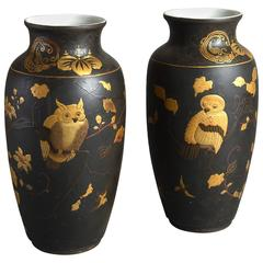 19th Century Pair of Lacquered Vases