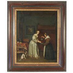 Oil on Canvas 19th Century Dutch School Lady Washing Her Hands