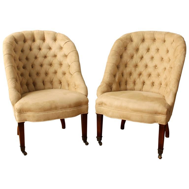Pair of Buttoned Back Slipper Chairs
