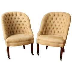 Glamorous Pair Of 1940 S Asymmetrical Fan Back Chairs In