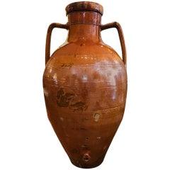 Monumental Glazed Terra Cotta Italian Amphora Form Olive Oil Vessel