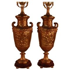 Pair of Classical Style Bronze Urn Table Lamps