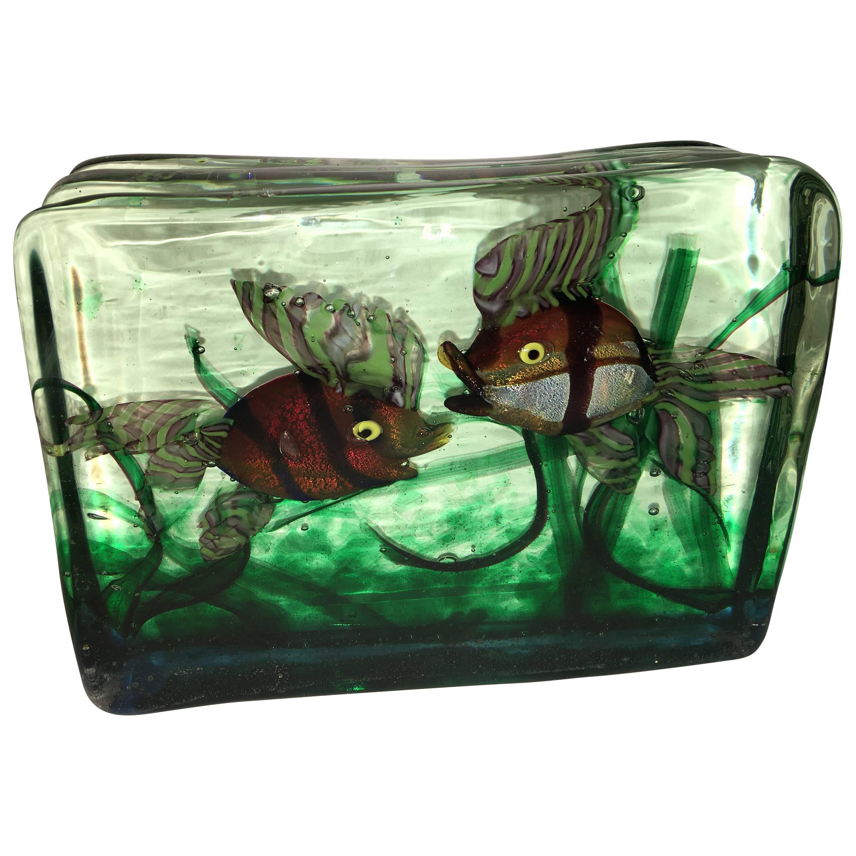 Large Murano Glass Aquarium Two Fish in Gino Cenedese Style