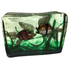 Large Murano Glass Aquarium Two Fish in Gino Cenedese Style