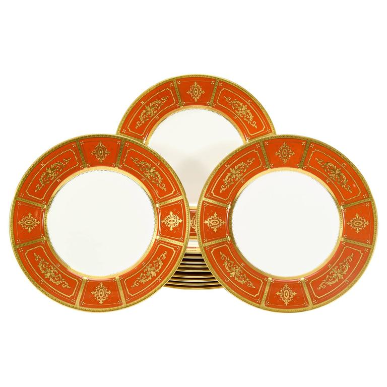 Set of 12 Minton Orange Dinner Plates with Neoclassical Raised Paste Gold For Sale  sc 1 st  1stDibs & Set of 12 Minton Orange Dinner Plates with Neoclassical Raised Paste ...