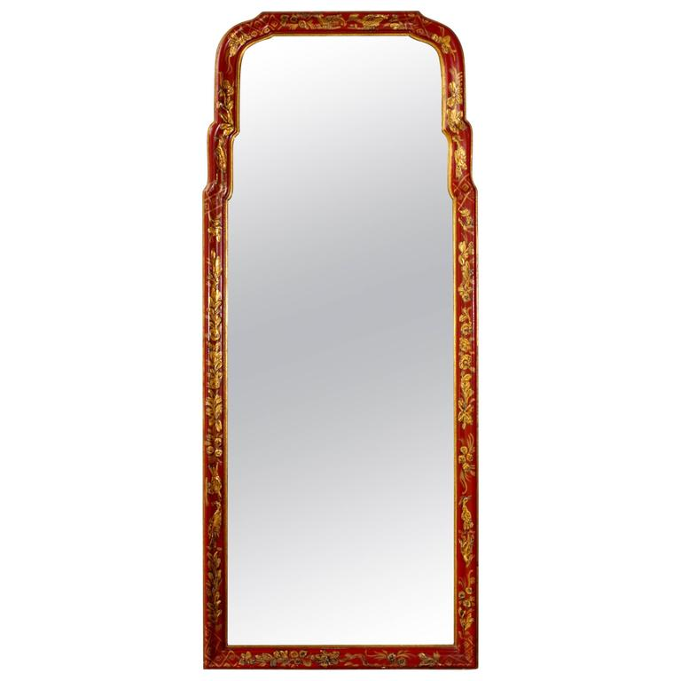 Scarlet Chinoiserie Decorated Queen Anne Style Mirror 1