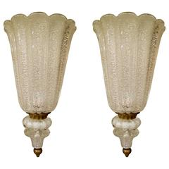 Large Pair of Mid-Century White Murano Glass Sconces