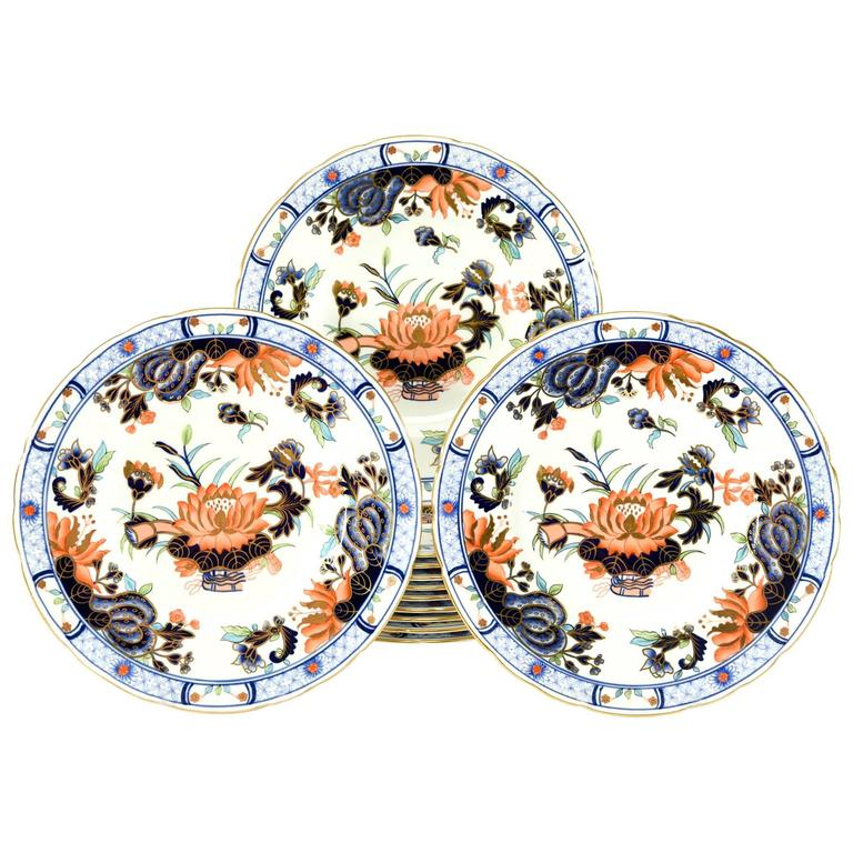 Set of 12 Royal Crown Derby Imari Decorated Dessert Plates for Tiffany