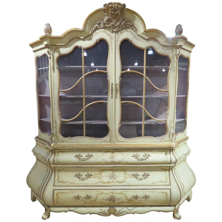 Distressed Cream Painted And Gilt Carved China Cabinet For