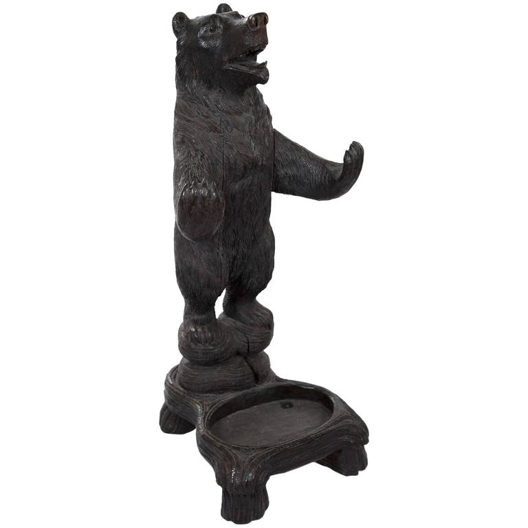 German Black Forest Carved Bear Umbrella Stand