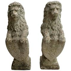 Pair of Tall Composite Stone English Lions Rampant