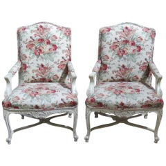 Pair of Louis XVI Style Cream Painted Upholstered Fauteuils Bergere Arm Chairs